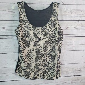Maurices Black Cream Embroidered tank top Large